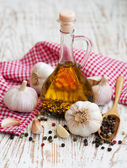 Olive Oil, Garlic and Pepper — Stock Photo