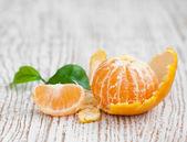Tangerine with segments — Stock Photo
