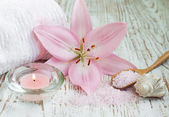 Spa set with lily — Stock Photo