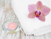 Orchids and candle — Stock Photo