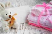 Newborn baby greeting — Stock Photo