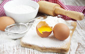 Baking ingredients on a table — Stock Photo