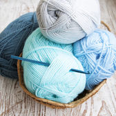 Crochet hook and knitting yarn — ストック写真