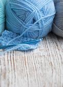 Crochet hook and knitting yarn — Stock Photo