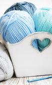 Haken und stricken garn gehäkelt — Stockfoto