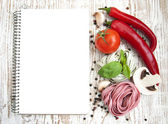 Blank paper for recipes with ingredients — Stockfoto
