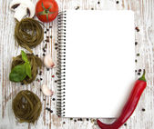 Blank paper for recipes with ingredients — Stock Photo