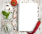 Blank paper for recipes with ingredients — Photo