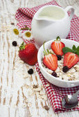 Grain muesli with strawberries — Stock Photo