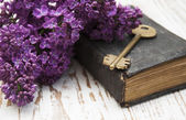 Antique book and  old key — Stock Photo
