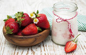 Yogurt with strawberries — Stock Photo