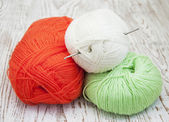 Yarns and crotchet hook — Stock Photo