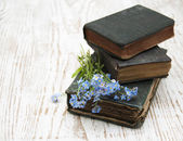 Forget-me-nots flowers and old books — Stockfoto