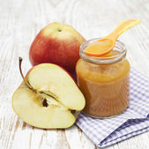 Apples puree in jar — Stock Photo