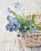 Bouquet of spring flowers in basket — Stock Photo