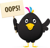 Immagine illustrata di un uccello nero tenendo un oops placard — Foto Stock