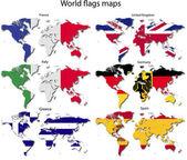 世界地図上の国のフラグ — ストックベクタ