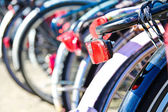 Bikes parked in the centre of amsterdam — Stock Photo