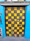 Graffiti squares door — Stock Photo