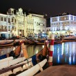 Night view the traditional moliceiro boats in the canal of Aveir — Stock Photo #14855315