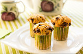 Chocolate chip muffins on white plate and green striped tableclo — ストック写真