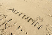 Word autumn handwritten and leaf drawn in sand — Stock Photo
