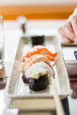 Closeup of sushi set on white plate — Stock Photo