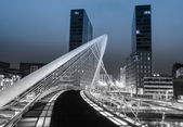 Nightview of Zubizuri bridge and Isozaki towers in Bilbao, Spain — Stock Photo