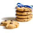 Closeup of chocolate chip cookies pile isolated on white backgro — Stock Photo #25680067
