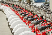 Bikes parked on the street in Barcelona, Spain — Stock Photo