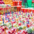 Set packed of fresh fruits and juices in La Boqueria market, in — Stock Photo