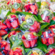 Set packed of fresh fruits in La Boqueria market, in Ramblas str - Stock Photo