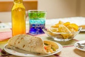 Traditional mexican food with a plate of chicken fajita, bowl of — Stock Photo