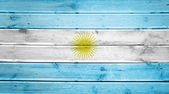 Wood texture background with colors of the flag of Argentina — Foto Stock