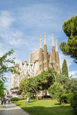 View of the Sagrada Familia cathedral, designed by Antoni Gaudi, — Stock Photo
