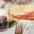 Typical spanish tapa with slices of serrano ham and manchego che — Stock Photo