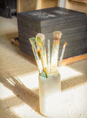 Paint brushes set in front of canvas — Stock Photo