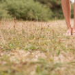 Young female legs walking on the grass — Stock Photo #34104353