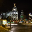 Metropolis building in Gran Via street, in Madrid — Stock Photo