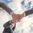 Business team showing unity with hands together — Stock Photo