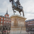 Постер, плакат: Statue of King Philips III at Plaza Mayor Madrid
