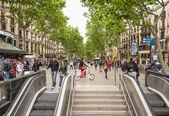 People walking in La Rambla street of Barcelona — 图库照片