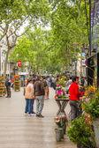 Flower stands in La Rambla street, in Barcelona — 图库照片