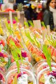 Packed fruits in La Boqueria market, Barcelona — Stock Photo