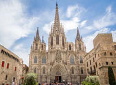 Facade of Barcelona gothic cathedral, in Spain — Stock Photo