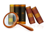 Magnifying glass and books, vector — Stock Vector