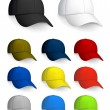 Stock Vector: Set of Baseball caps, isolated on white