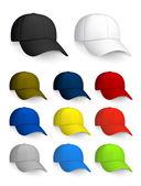 Conjunto de gorras de béisbol, aislado en el blanco — Vector de stock