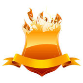 Burning shield emblem, vector — Vecteur