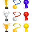 Trophy, vector icon set — Stock Vector